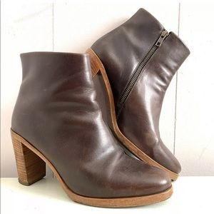 APC Chic Burgundy Brown Stacked Heel Ankle Boots